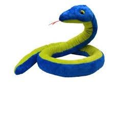 Plyšový had Sun modro-žlutozelený 270cm