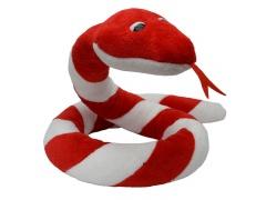 Plyšový had Suk červeno - bílý 250cm