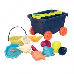 B.toys Vozík s hračkami na písek modrý