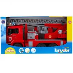 Užitkové vozy - MAN TGA hasičské auto s výsuvným žebříkem, pumpou, světly a zvuky 1:16